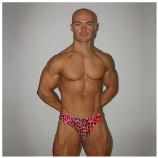 Mens Swim Briefs - Pink Leopard - Swimming briefs for men